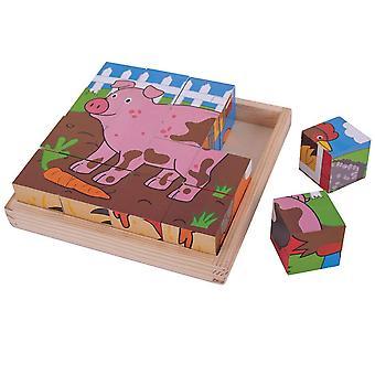Bigjigs hračky farma kostka 16 ks puzzle