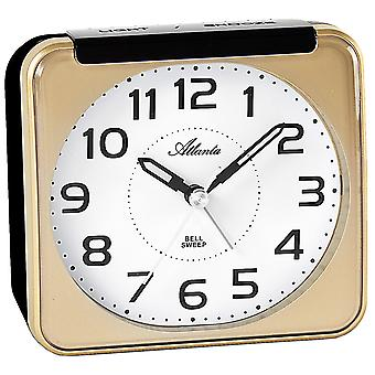 Atlanta 1955/9 alarm clock quartz analog golden quietly without ticking with light Snooze