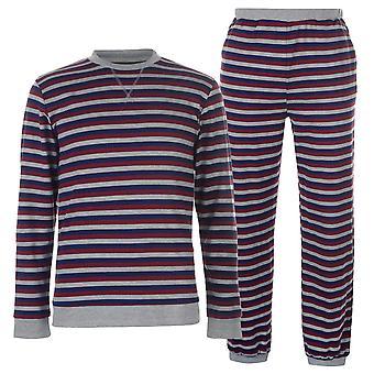 SoulCal mens Jersey top stribe pyjamas sæt langærmet Crew Neck