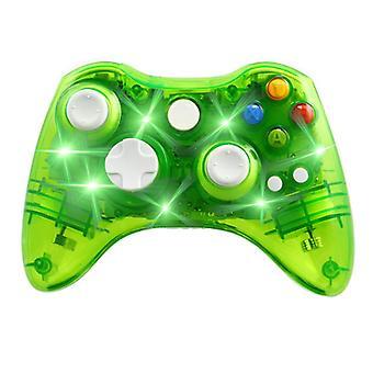 Sterowanie bezprzewodowe Xbox 360 - 7 migająca dioda LED - przezroczysta zielona