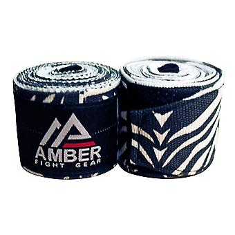 Amber Boxing Elastic Mexican Hand Wraps 180 in 4.5M Long Pair Zebra Pattern