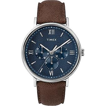 TW2T35100, Timex Uomini's TW2T35100 Southview Multifunction Brown/Silver/Blue Leather Strap Orologio