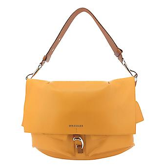 Orciani B02077micron Women's Orange Leather Shoulder Bag
