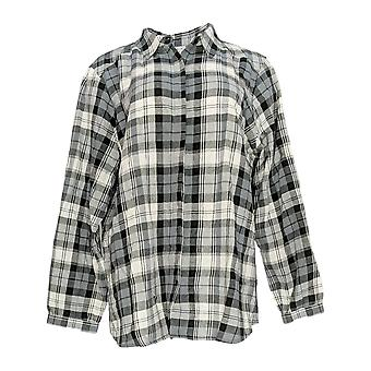 Joan Rivers Classics Collection Women's Top Plaid Shirt Black A309779