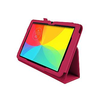 LG GパッドV700 10.1&quotのための磁気PUレザーケースカバー[ホットピンク]