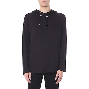 Balmain Th13239i2230pa Men's Black Viscose Sweatshirt