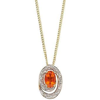 Elementos oro fuego opal colgante - oro / naranja