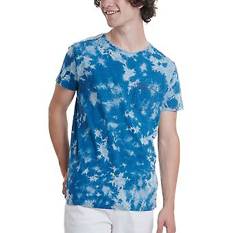 Funky Buddha Men's T-Shirt In Irregular Bleach Pattern