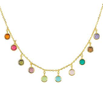 Multi Coloured Gemstone Necklace Gold Choker Dangle Silver 925 Gift Statement