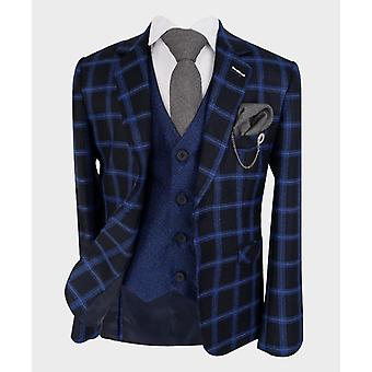 Boys Tailored fit Windowpane Check Formal Tweed Suit in Royal Blue & Black