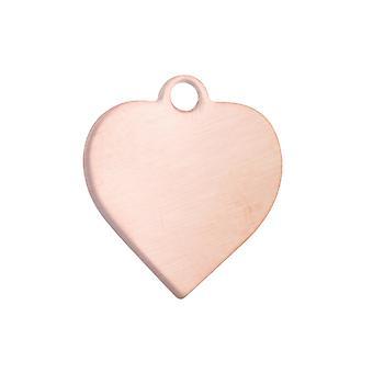 Copper Blanks Heart Pack van 6 44mm X 0,9mm Doorboorde bovenring