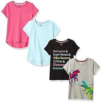 Zebra Toddler Girls&apos manchadas; 4-Pack camisetas de manga curta, Dino Unicórnio, 4T