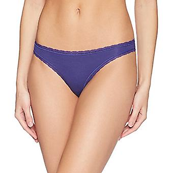 Brand - Mae Women's Lace Trim Cotton Thong, 3 Pack,Navy Blue Blue/Lila...