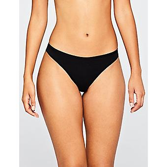 Iris & Lilly Women's Cotton Thong, Pack of 10, Black, S (US 4-6)