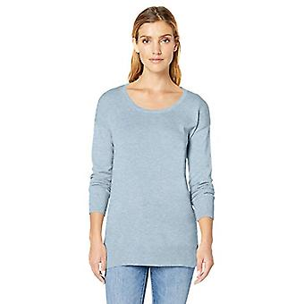 Essentials Women's Lightweight Scoopneck Tunic Sweater, Light Indigo H...
