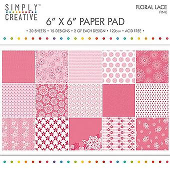 Gewoon Creative FSC Paper Pad 6x6 Inch Floral Lace-Pink