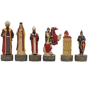 The Crusaders vs. Turkish Hand Painted Themed Chess Pieces by Italfama