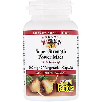 Natural Factors, Organic MacaRich, Super Strength Power Maca with Ginseng, 500 m