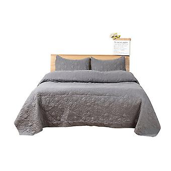 Bedding Cotton Double Bed Quilt Coverlet Set 3-Piece Solid Color