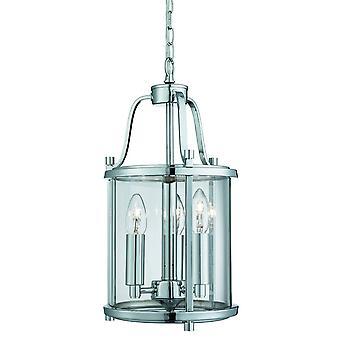 3 Lichte plafondlantaarn chrome, glas drie, E14