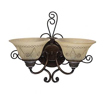Country Brown Wall Light 2 Lampen 20 Cm