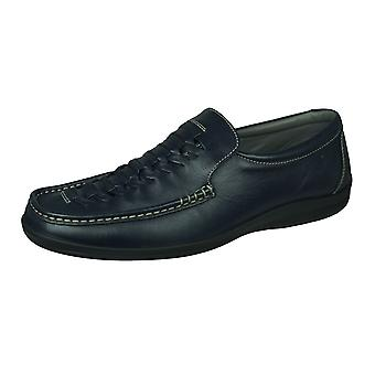 Sledgers Gregory Loafer Mens Slip on Leather Shoes - Navy