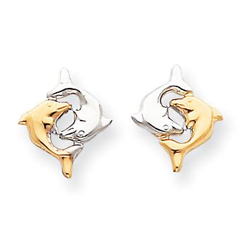 14k White Gold Polished and Rhodium Dolphin Post Earrings Measures 15x13mm Jewelry Gifts for Women