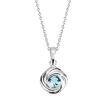 Dew Sterling Silver Silver Swirl Blue Topaz Pendant 9312BT
