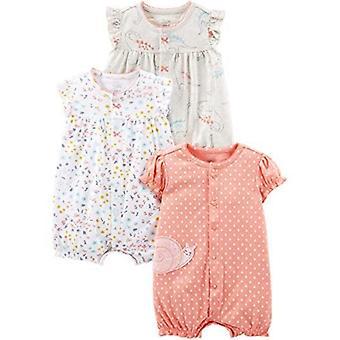 Simple Joys de Carterăs Baby Girlsă 3-Pack Snap-up Rompers, Navy Dot/Pink Str...