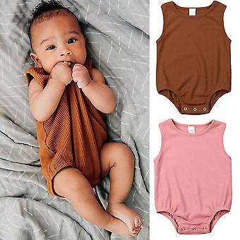 Newborn Kid Baby, - Solid Jumpsuit, Casual Sleeveless Outfit