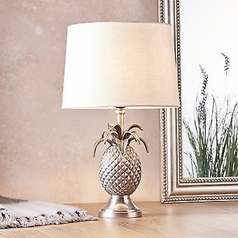 Endon Beleuchtung Ananas & Mia - Tischlampe Zinn Platte & Vintage weiß Leinen 1 Licht IP20 - E27