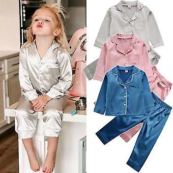 Kids Pyjamas, Silk Satin Tops, Pant Autumn, Winter - Long Sleeve Sleepwear