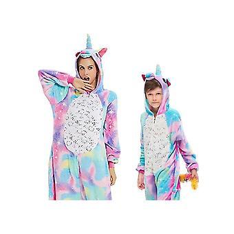 Girls Boys Winter Pajamas Unicorn Cartoon Anime Style Sleepwear Set-1