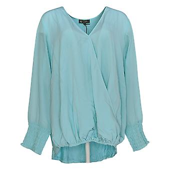 DG2 por Diane Gilman Women's Plus Top 1X V-Neck W/ Sheer Sleeves Blue 648-383