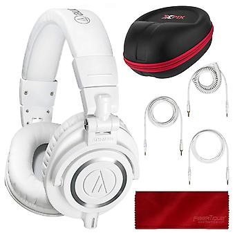 Audio technica ath-m50x monitor headphones (white) professional kit, with carrying case, fibertique cleaning cloth and 3 cables ? for d