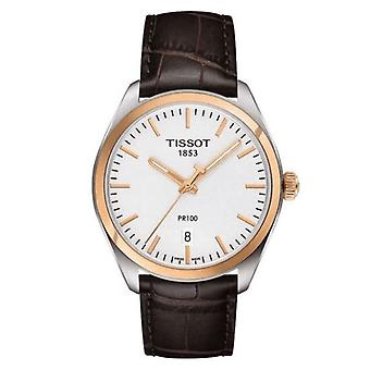 Tissot T101.410.26.031.00 Pr 100 Kulta ja hopea Ruskea Nahka Men's Watch