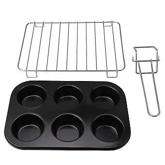 Bakeware Set w/ Black Muffin Pan Silver Grill Baking Tray Clamp