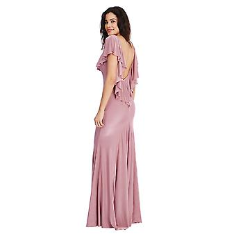 Open back rose ruffle maxi dress