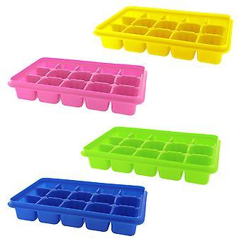 4 balenia silikónová kocka ľadu zásobníky s jasnou viečka-pokryté Ice Cube zásobník set s 60 kocky ľadu formy-flexibilné gumy BPA-Free plast!