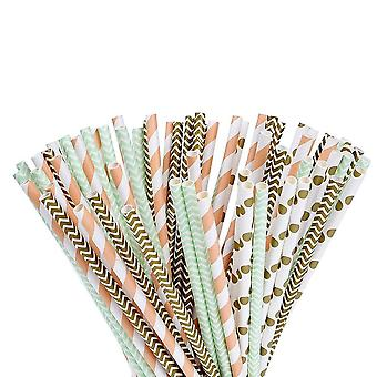 100x Paper Drinking Straw - Organic Paper Straw 100 Pieces - With A Gold Green And Orange Elegant Pattern