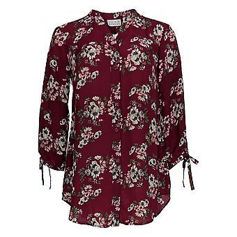 Coleção Joan Rivers Classics Women's Top Print Bow Sleeves Red A310924