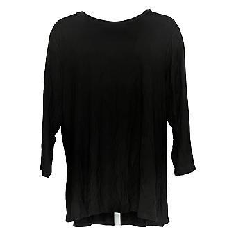 H by Halston Women's Plus Top Essential Crew-Neck 3/4 Sleeve Black A311530