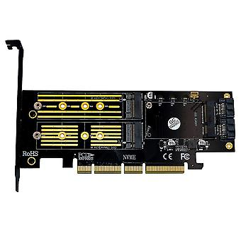 Upgrade Version 3 in 1 Msata  M.2 NGFF NVME SATA SSD to PCI-E 4X  SATA3 Adapter
