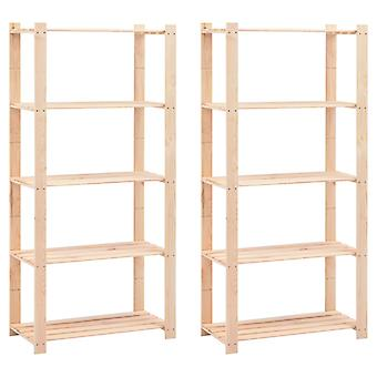 Storage shelves 5 floors 2 pcs. 80×38×170cm Pine solid wood 250kg