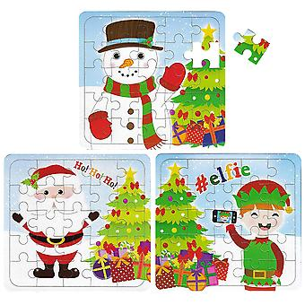 Henbrandt 12 christmas puzzles - 25 piece mini jigsaw puzzle - boys girl unisex party bag fillers 1