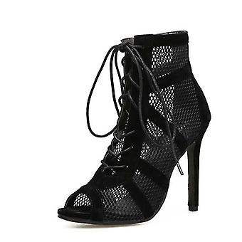 Summer Sandals Lace-up & Cross-tied, High-heel Ankle Strap With Net Surface