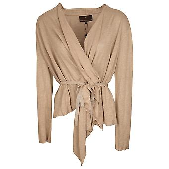 Fenn Wright Manson Beige Long Sleeve Fine Knit Wrap Around Linen Cardigan With Belt