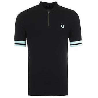 Fred Perry Tipped Cuff Zip Neck Polo Shirt - Black