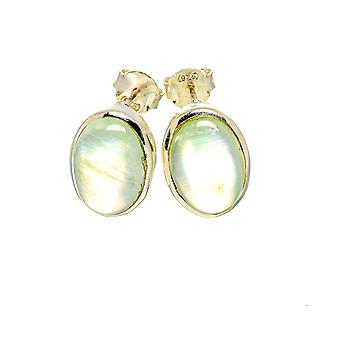 "Prehnite Earrings 5/8"" (925 Sterling Silver)  - Handmade Boho Vintage Jewelry EARR411042"