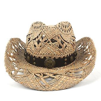 Natural Straw Cowboy Hat Women Men Handwork Weave Cowboy Hats For Lady Dad